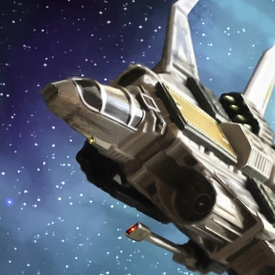 A star fighter flies amongst the stars.  (This is a detail from a larger image that is not available for licensing.)